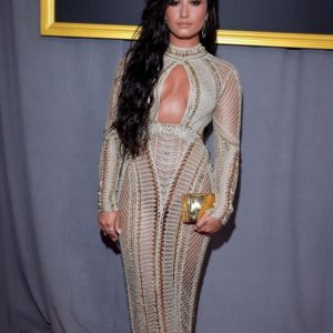 Demi Lovato Champagne Gold Dress At The Grammys