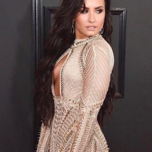 Flirty Demi Lovato Champagne Gold Dress At The Grammys