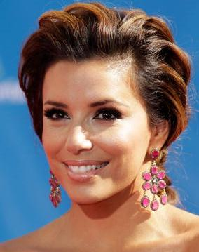 Eva Longoria in Hanging Ruby Earrings