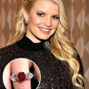 Jessica Simpson engagement ring is Ruby which is July birthstone