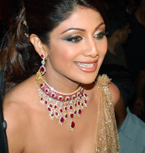 Shilpa Shetty In Regal July Ruby Birthstone Jewelry